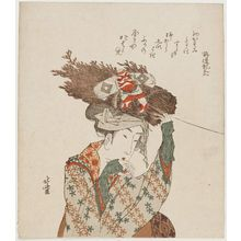 葛飾北斎: Woman of Ôhara with Firewood Bundle and Kite - ボストン美術館