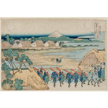 Katsushika Hokusai: Fuji Seen in the Distance from the Senju Pleasure Quarter (Senju kagai yori chôbô no Fuji), from the series Thirty-six Views of Mount Fuji (Fugaku sanjûrokkei) - Museum of Fine Arts