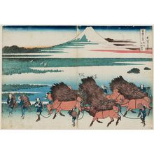 葛飾北斎: The Paddies of Ôno in Suruga Province (Sunshû Ôno-shinden), from the series Thirty-six Views of Mount Fuji (Fugaku sanjûrokkei) - ボストン美術館