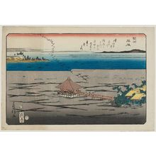 Utagawa Fusatane: Descending Geese at Katada (Katada rakugan), from an untitled series of Eight Views of Ômi (Ômi hakkei) - Museum of Fine Arts