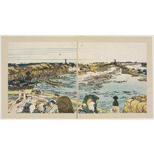 葛飾北斎: Nihon-bashi; From Toto Shokei Ichiren , vol. I double page 6 - ボストン美術館