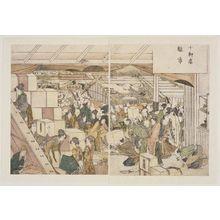 Katsushika Hokusai: Jukken Ten, Hina Ichi ( Doll sale at the Jukken shop). From Ehon Azuma Asobi, double page, 36. - Museum of Fine Arts