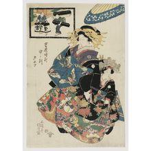 Utagawa Kunisada: The Hour of the Monkey, Seventh Hour of Evening (Saru no koku, Yûbe nanatsu), from the series A Yoshiwara Clock (Yoshiwara tokei) - Museum of Fine Arts