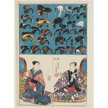 Utagawa Yoshikazu: Cutout picture of actors - Museum of Fine Arts