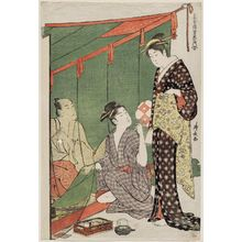Torii Kiyonaga: Man under a Mosquito Net and Two Women, from the series Contest of Contemporary Beauties of the Pleasure Quarters (Tôsei yûri bijin awase) - Museum of Fine Arts
