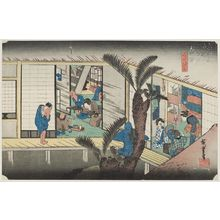 歌川広重: Akasaka: Inn with Serving Maids (Akasaka, ryosha shôfu no zu), from the series Fifty-three Stations of the Tôkaidô (Tôkaidô gojûsan tsugi no uchi), also known as the First Tôkaidô or Great Tôkaidô - ボストン美術館