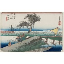 Utagawa Hiroshige: Yokkaichi: Mie River (Yokkaichi, Miegawa), from the series Fifty-three Stations of the Tôkaidô Road (Tôkaidô gojûsan tsugi no uchi), also known as the First Tôkaidô or Great Tôkaidô - Museum of Fine Arts