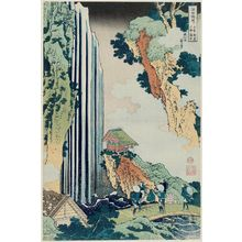 葛飾北斎: The Waterfall at Ono on the Kisokaidô Road (Kisokaidô Ono no bakufu), from the series A Tour of Waterfalls in Various Provinces (Shokoku taki meguri) - ボストン美術館