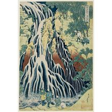 Katsushika Hokusai: The Falling Mist Waterfall at Mount Kurokami in Shimotsuke Province (Shimotsuke Kurokamiyama Kirifuri no taki), from the series A Tour of Waterfalls in Various Provinces (Shokoku taki meguri) - Museum of Fine Arts