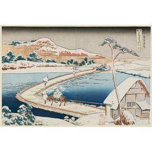 葛飾北斎: Old View of the Pontoon Bridge at Sano in Kôzuke Province (Kôzuke Sano funabashi no kozu), from the series Remarkable Views of Bridges in Various Provinces (Shokoku meikyô kiran) - ボストン美術館