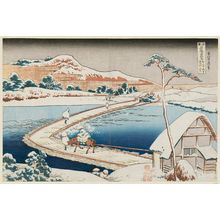 Katsushika Hokusai: Old View of the Pontoon Bridge at Sano in Kôzuke Province (Kôzuke Sano funabashi no kozu), from the series Remarkable Views of Bridges in Various Provinces (Shokoku meikyô kiran) - Museum of Fine Arts