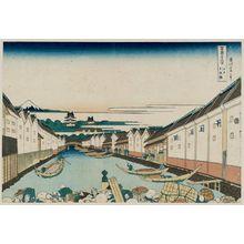 Katsushika Hokusai: Nihonbashi Bridge in Edo (Edo Nihon-bashi), from the series Thirty-six Views of Mount Fuji (Fugaku sanjûrokkei) - Museum of Fine Arts