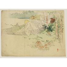 梶田半古: A Woman Lying in a Hammock with Western-Style Dress and Hairdo Holding an Uchiwa and a Letter - ボストン美術館
