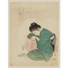 梶田半古: Woman in Kimono Asleep and Dreaming of her Lover, a Soldier in Battle - ボストン美術館