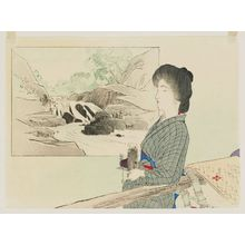 Tsutsui Toshimine: Woman with a Camera Leaning on a Palanquin; Cartouche with Scenery in the Background - ボストン美術館