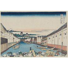 葛飾北斎: Nihonbashi Bridge in Edo (Edo Nihon-bashi), from the series Thirty-six Views of Mount Fuji (Fugaku sanjûrokkei) - ボストン美術館