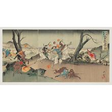 Utagawa Kokunimasa: Russo-Japanese War: Illustration of Our Army Taking Occupation of Chongju [Ch. Dingzhou] (Nichiro sensô waga gun Teishû senryô no zu) - ボストン美術館