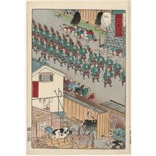 Kawanabe Kyosai: Cattle Sheds at Takanawa (Takanawa ushigoya), from the series Scenes of Famous Places along the Tôkaidô Road (Tôkaidô meisho fûkei), also known as the Processional Tôkaidô (Gyôretsu Tôkaidô), here called Tôkaidô - Museum of Fine Arts