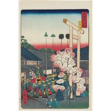 二歌川広重: Crossroads at Yokkaichi (Yokkaichi oiwake), from the series Scenes of Famous Places along the Tôkaidô Road (Tôkaidô meisho fûkei), also known as the Processional Tôkaidô (Gyôretsu Tôkaidô), here called Tôkaidô meisho no uchi - ボストン美術館