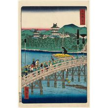 Utagawa Hiroshige II: Yoshida, from the series Scenes of Famous Places along the Tôkaidô Road (Tôkaidô meisho fûkei), also known as the Processional Tôkaidô (Gyôretsu Tôkaidô), here called Tôkaidô - Museum of Fine Arts