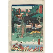 Toyohara Kunichika: Toyokawa, from the series Scenes of Famous Places along the Tôkaidô Road (Tôkaidô meisho fûkei), also known as the Processional Tôkaidô (Gyôretsu Tôkaidô), here called Tôkaidô meisho no uchi - Museum of Fine Arts