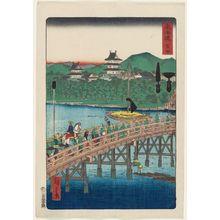 Utagawa Hiroshige II: Yoshida, from the series Scenes of Famous Places along the Tôkaidô Road (Tôkaidô meisho fûkei), also known as the Processional Tôkaidô (Gyôretsu Tôkaidô), here called Tôkaidô - Museum of Fine Arts