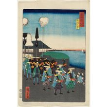 Utagawa Hiroshige II: Checkpoint at Takanawa (Takanawa ôkido), from the series Scenes of Famous Places along the Tôkaidô Road (Tôkaidô meisho fûkei), also known as the Processional Tôkaidô (Gyôretsu Tôkaidô), here called Tôkaidô meisho no uchi - Museum of Fine Arts