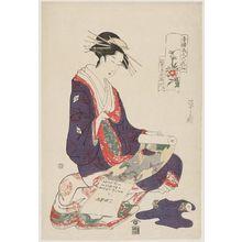 Hosoda Eishi: Kisegawa of the Matsubaya, Chaya Bijin Rokkasen - Museum of Fine Arts