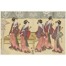 Hosoda Eishi: Five Teahouse Waitresses as the Five Men of the Karigane Gang - Museum of Fine Arts