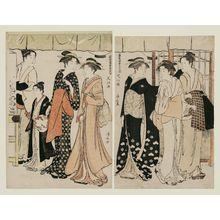 鳥居清長: Enjoying the Cool Air at Nakasu (Sakô suzumi), from the series A Contest of Fashionable Beauties of the Pleasure Quarters (Tôsei yûri bijin awase) - ボストン美術館