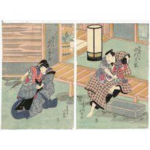 Shunbaisai Hokuei: Actors Nakamura Shikan as Tsurikago Sayanosuke (R) and Nakamura Tomijûrô as His Wife Otomi (L) - Museum of Fine Arts