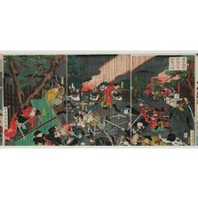 Utagawa Kuniteru: In the Foothills of Mount Fuji, the Soga Brothers Achieve Their Revenge (Fuji no susono Soga kyôdai hôshû no zu) - Museum of Fine Arts