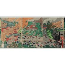 Utagawa Yoshimori: The Battle at Honnô-ji Temple (Honnô-ji kassen no zu) - Museum of Fine Arts