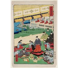 Utagawa Yoshimori: Kyoto: Preparing to Go Out (Kyôto, oidetachi), from the series Scenes of Famous Places along the Tôkaidô Road (Tôkaidô meisho fûkei), also known as the Processional Tôkaidô (Gyôretsu Tôkaidô) - Museum of Fine Arts