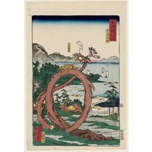 河鍋暁斎: The Snake Pine at Tago Bay (Tago no ura hebimatsu), from the series Scenes of Famous Places along the Tôkaidô Road (Tôkaidô meisho fûkei), also known as the Processional Tôkaidô (Gyôretsu Tôkaidô), here called Tôkaidô meisho no uchi - ボストン美術館