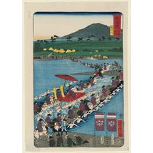 歌川芳虎: The Abe River (Abekawa), from the series Scenes of Famous Places along the Tôkaidô Road (Tôkaidô meisho fûkei), also known as the Processional Tôkaidô (Gyôretsu Tôkaidô), here called Tôkaidô meisho no uchi - ボストン美術館