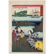 Ochiai Yoshiiku: Samezu: Samezu Kannon Temple, from the series Scenes of Famous Places along the Tôkaidô Road (Tôkaidô meisho fûkei), also known as the Processional Tôkaidô (Gyôretsu Tôkaidô), here called Tôkaidô no uchi - Museum of Fine Arts