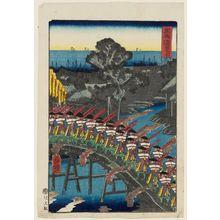 歌川芳艶: Yokkaichi, from the series Scenes of Famous Places along the Tôkaidô Road (Tôkaidô meisho fûkei), also known as the Processional Tôkaidô (Gyôretsu Tôkaidô), here called Tôkaidô - ボストン美術館