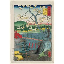 Utagawa Yoshitsuya: Fukakusa Village, Grave of Shôshô, Cherry Tree of Shôshô, Gensei-ji Temple, from the series Scenes of Famous Places along the Tôkaidô Road (Tôkaidô meisho fûkei), aka Processional Tôkaidô (Gyôretsu Tôkaidô), here called Tôkaidô meisho no uchi - Museum of Fine Arts