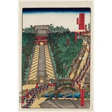 Utagawa Sadahide: Yugyô-ji Temple at Fujisawa (Fujisawa Yugyô-ji), from the series Scenes of Famous Places along the Tôkaidô Road (Tôkaidô meisho fûkei), also known as the Processional Tôkaidô (Gyôretsu Tôkaidô), here called Tôkaidô meisho no uchi - Museum of Fine Arts