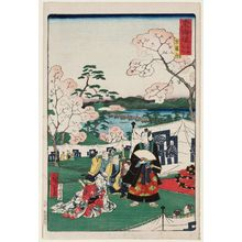 Utagawa Hiroshige II: Kyoto: Arashiyama (Kyô Arashiyama), from the series Scenes of Famous Places along the Tôkaidô Road (Tôkaidô meisho fûkei), also known as the Processional Tôkaidô (Gyôretsu Tôkaidô), here called Tôkaidô meisho no uchi - Museum of Fine Arts