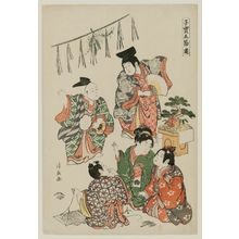 鳥居清長: New Year, from the series Precious Children's Games of the Five Festivals (Kodakara gosetsu asobi) - ボストン美術館