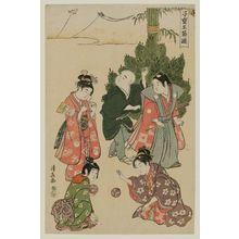 鳥居清長: The New Year Festival, from the series Precious Children's Games of the Five Festivals (Kodakara gosetsu asobi) - ボストン美術館