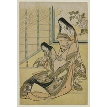 Torii Kiyonaga: The Third Princess (Nyosan no Miya) and Her Cat, from an untitled series of classical beauties - Museum of Fine Arts