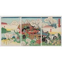 Utagawa Yoshimori: Lord Higashiyama Yoshimasa's Excursion to Yoshino (Higashiyama Yoshimasa kô Yoshino no yûran no zu) - ボストン美術館