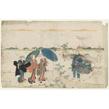 Katsukawa Shunko: Geisha Walking on the Riverbank by Mimeguri Shrine - Museum of Fine Arts