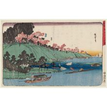 Utagawa Hiroshige: Cherry Blossoms in Full Bloom along the Sumida River (Sumidagawa hanazakari), from the series Famous Places of the Eastern Capital (Kôto meisho) - Museum of Fine Arts