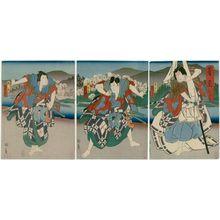 歌川国員: Actors Arashi Kichisaburô III as Matsuômaru (R), Jitsukawa Enzaburô as Umeômaru, and Bandô Hikosaburô as Sakuramaru (L), in Act 3 of Sugawara - ボストン美術館