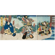 Kinoshita Hironobu I: Actors Ichikawa Momotarô I as Mori no Ranmaru (R), Arashi Kichisaburô III as Oda Harunaga (C), and Onoe Tamizô II as Konoshita Tôkichi (L), in the play Hisago no Kawarake - Museum of Fine Arts