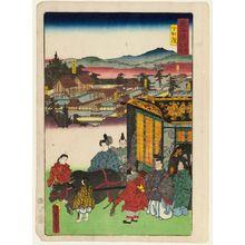 Utagawa Kunisada: The Lower Kamo Shrine (Shimogamo), from the series Scenes of Famous Places along the Tôkaidô Road (Tôkaidô meisho fûkei), also known as the Processional Tôkaidô (Gyôretsu Tôkaidô), here called Tôkaidô meisho no uchi - Museum of Fine Arts